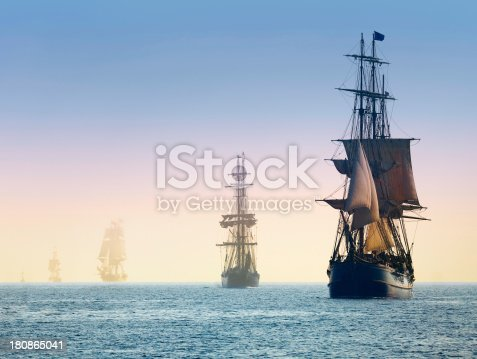 Tall Ships in the Mists of Morning Fog