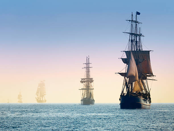 Tall Ships in the Mists of Morning Fog stock photo