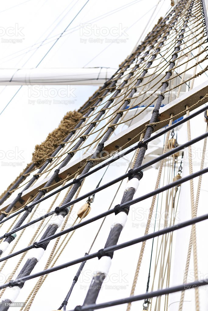 Tall ships shrouds royalty-free stock photo