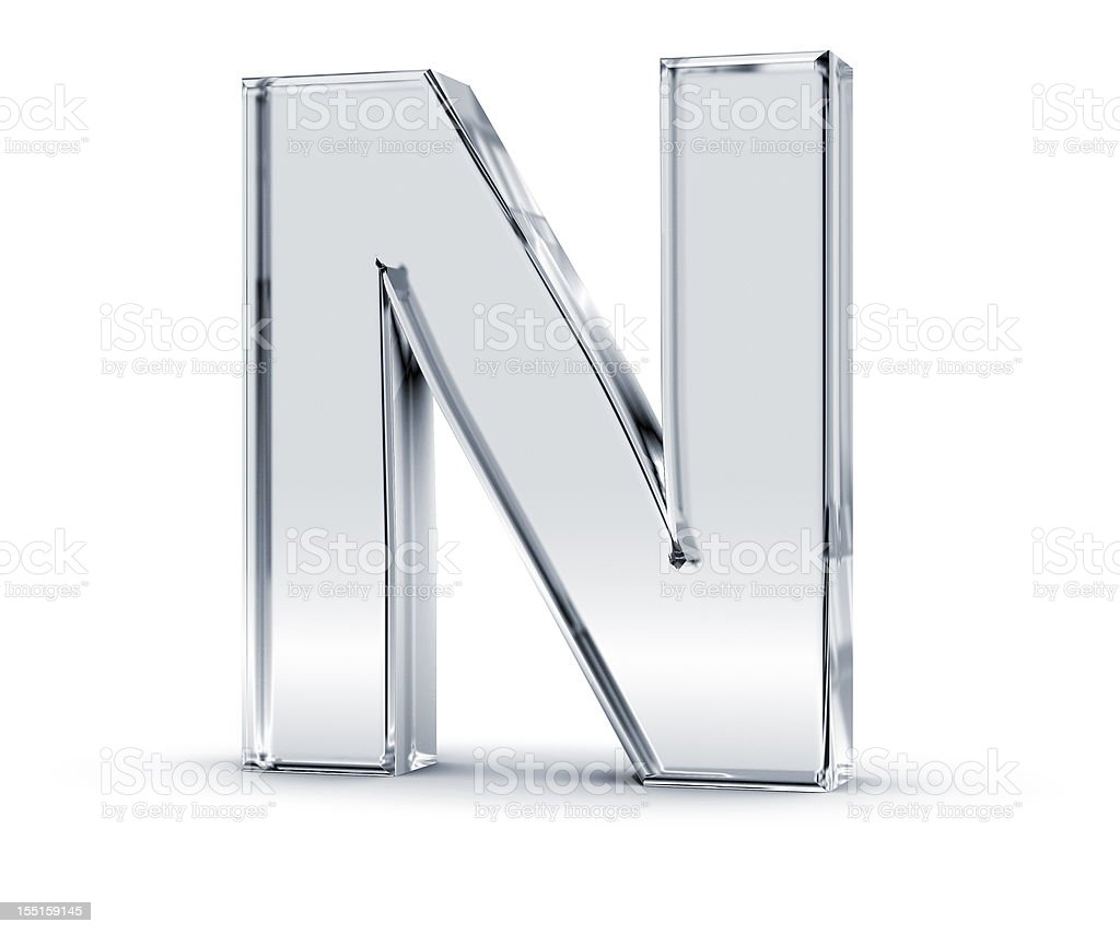 Tall silver letter n with a slight shadow beneath it stock photo