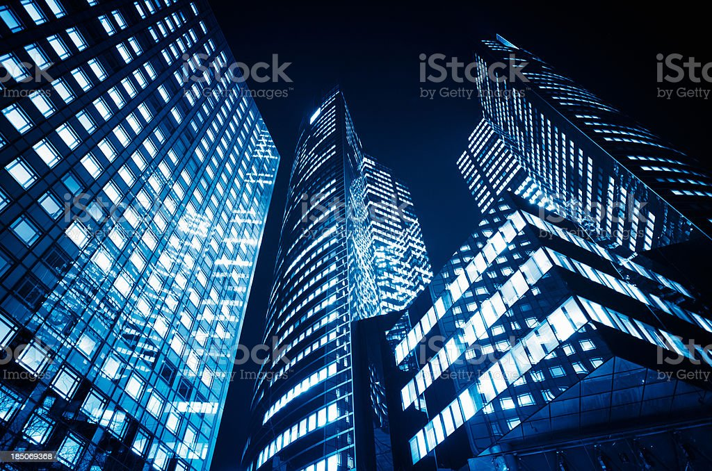 Tall skyscraper from low angle view stock photo