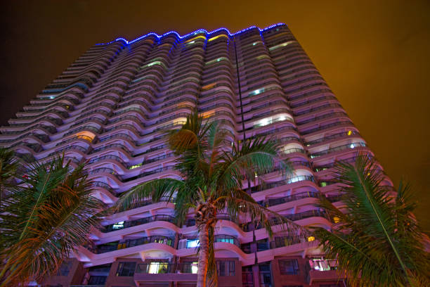 tall skyscrapers and beautiful palms, night city in the tropics, the combination of nature and architecture. stock photo