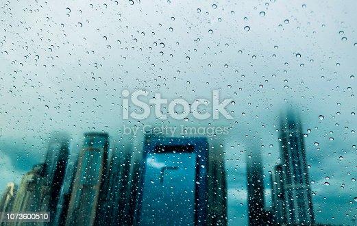 Rain, Season, Dubai, Climate - Selective focus image of rainy scene in Dubai