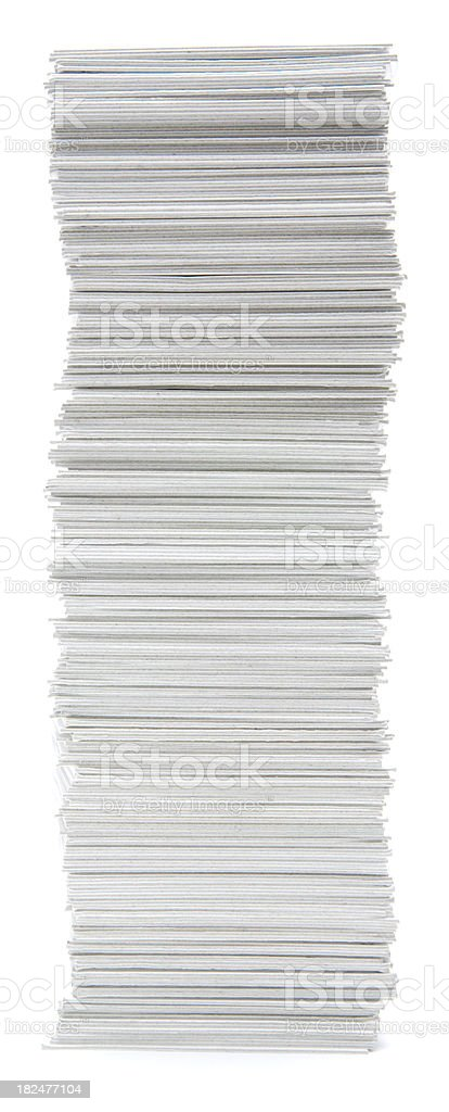 Tall stack of hand trimmed card royalty-free stock photo