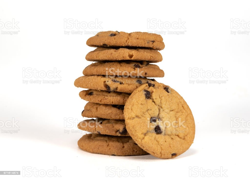 Tall Stack of Nine Cookies stock photo