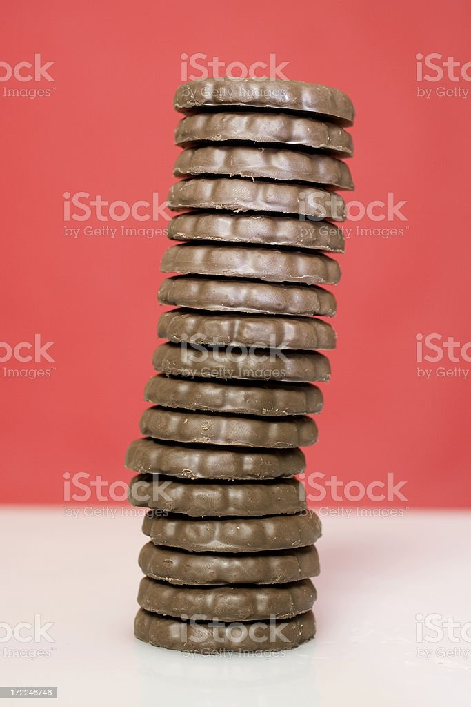 Tall stack of thin mint cookies stock photo