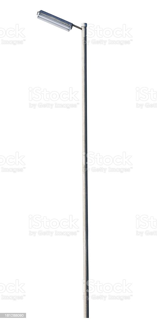 Tall street lamp with oblong lamp cover on white background stock photo