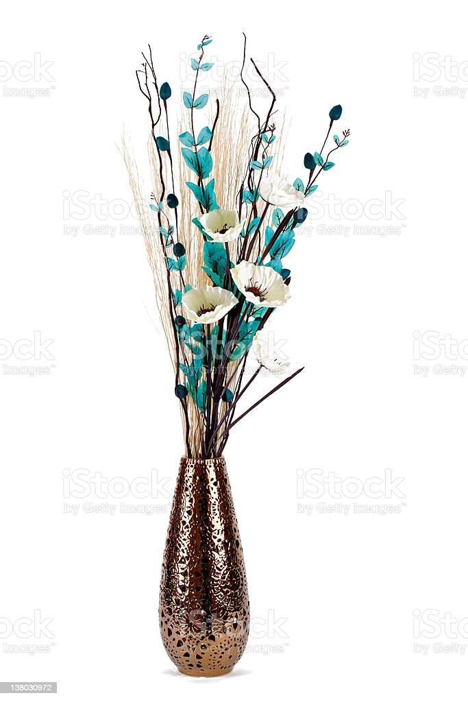 Tall stylish flower arrangement in a vase isolated stock photo