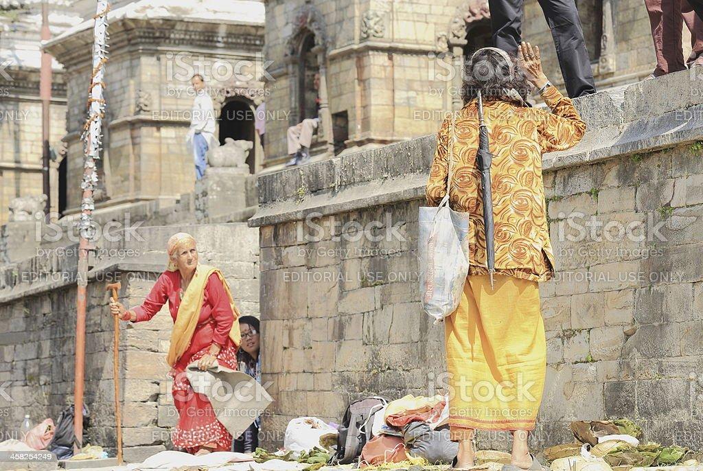 Tall thin sadhu in Pashupatinath temple-Deopatan-Kathmand-Nepal. 0293 stock photo