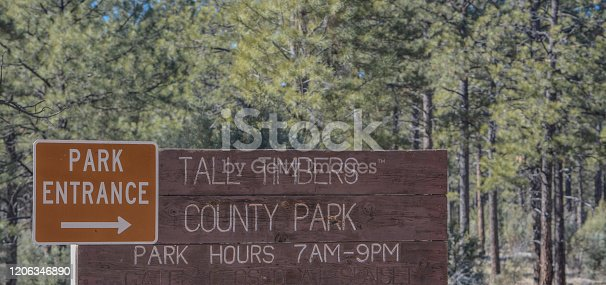 Tall Timbers County Park Sign at the Park Entrance near Overgaard, Navajo County, Sitgreaves National Forest, Arizona USA