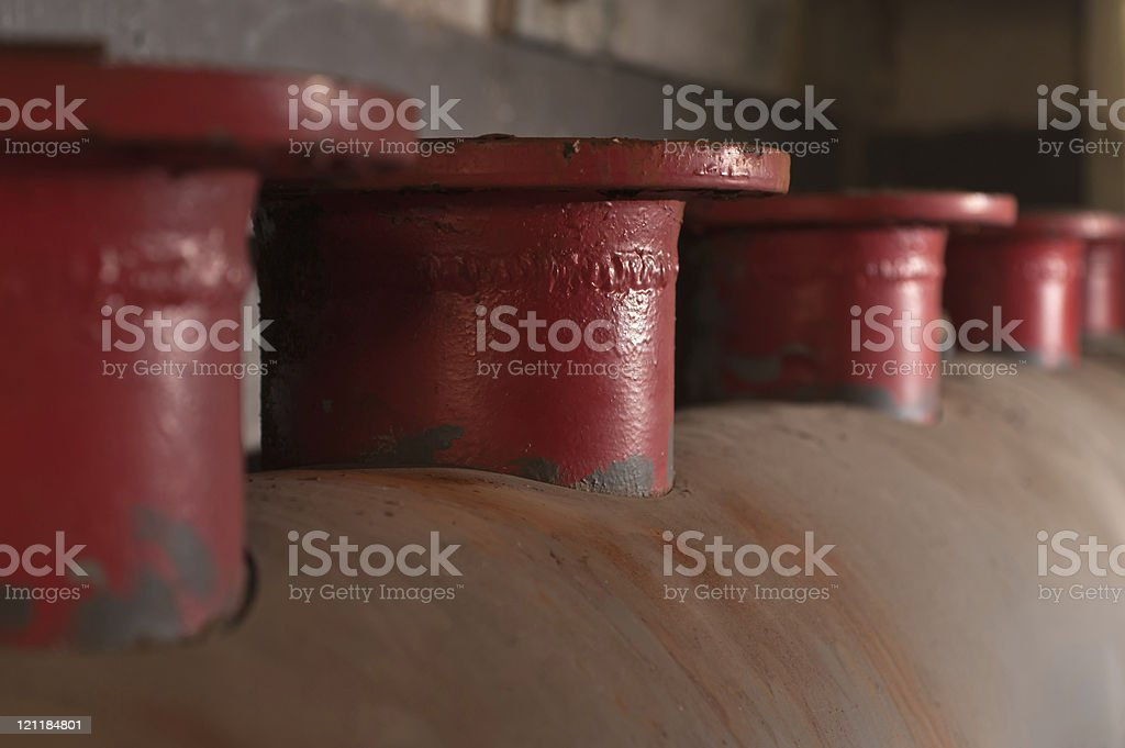 tall tubes at an abandoned power plant stock photo