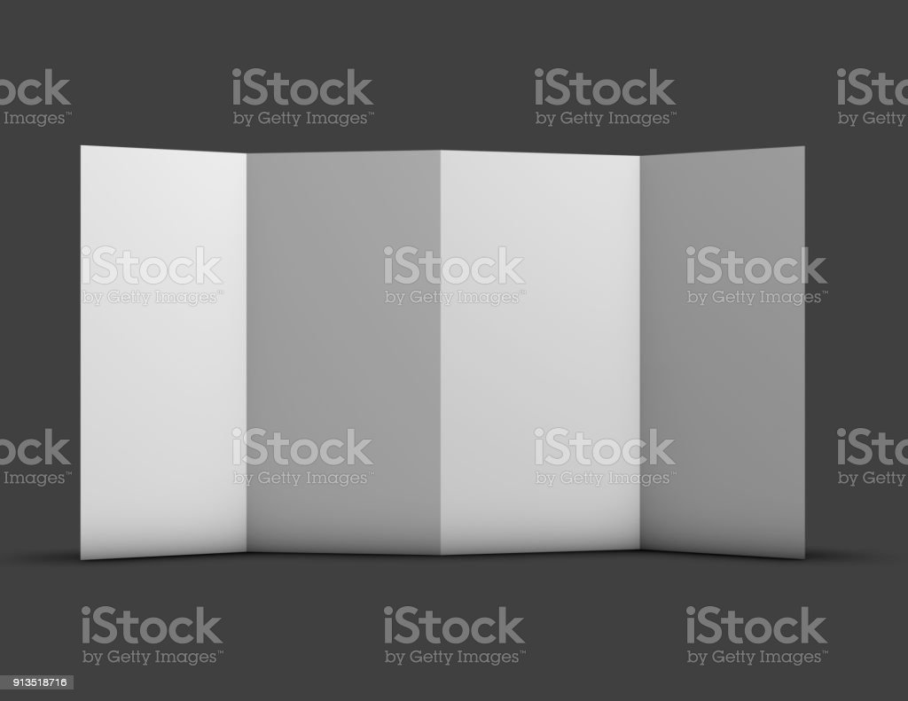 Tall vertical orientation four pages brochure, leaflet mockup. stock photo