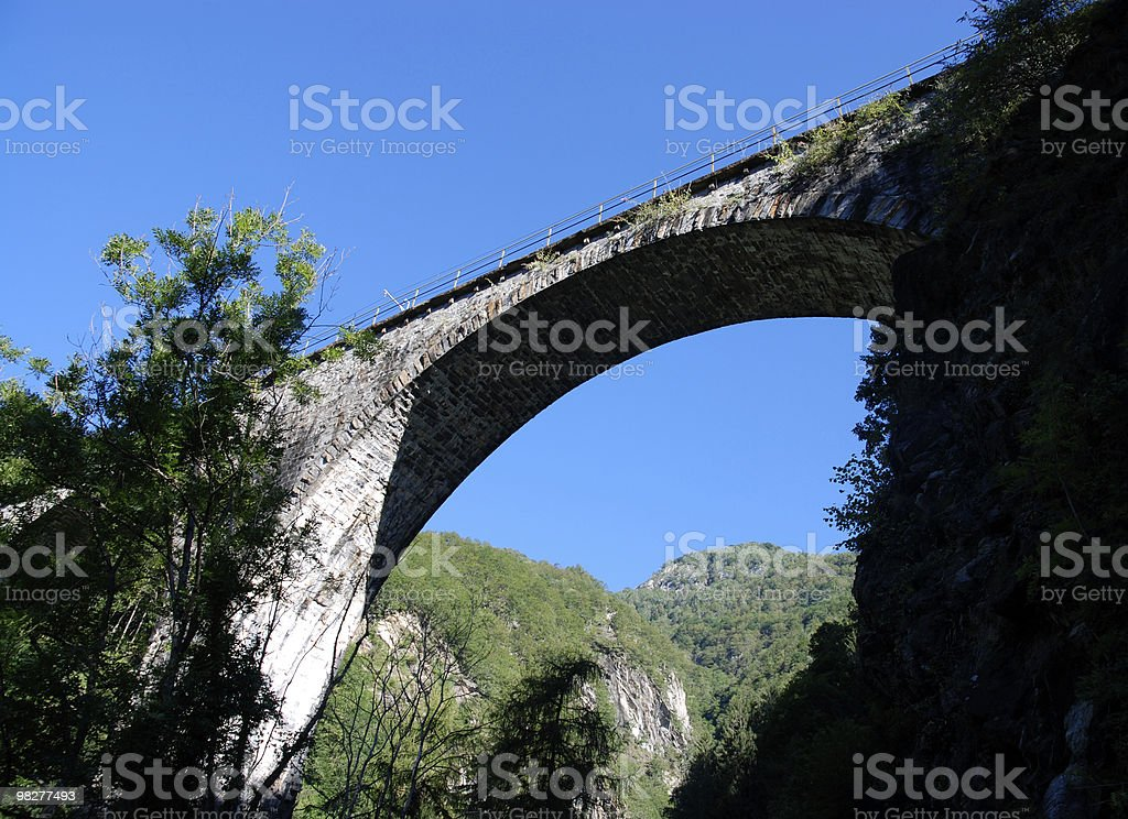 tall viaduct in the Swiss Alps royalty-free stock photo