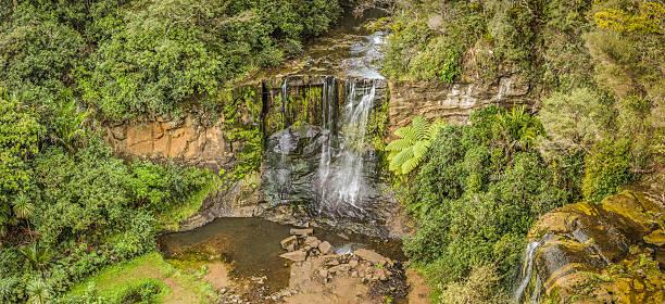 Tall waterfalls panorama stock photo