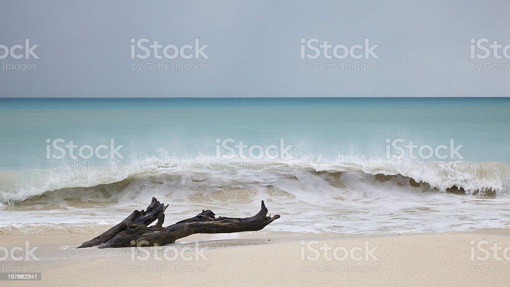 Tall Waves At Caribbean Beach royalty-free stock photo