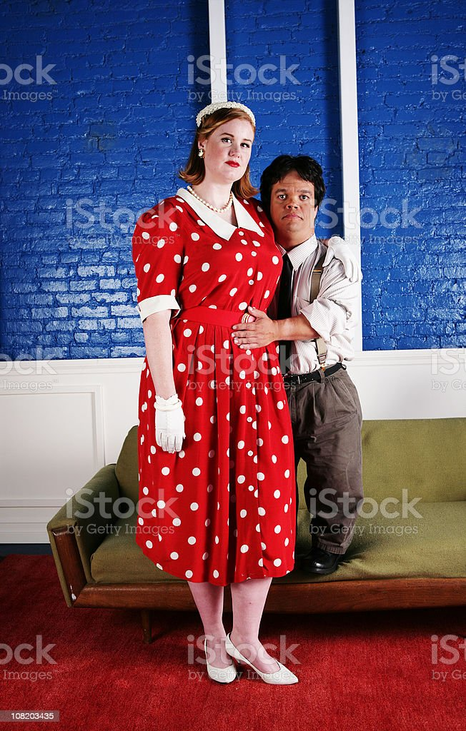 Tall Woman and Short Man Couple stock photo