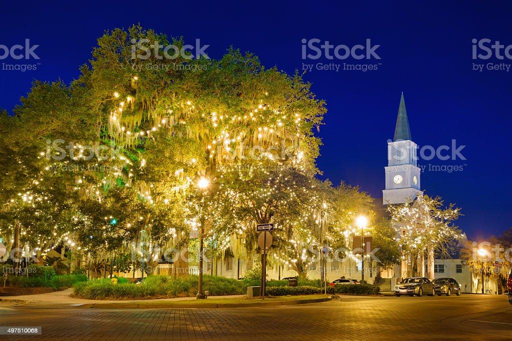 Tallahassee Florida Downtown Park Christmas USA stock photo
