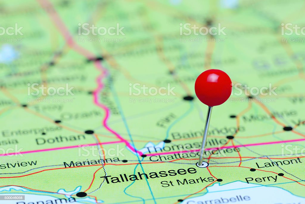 Tallahassee pinned on a map of USA stock photo
