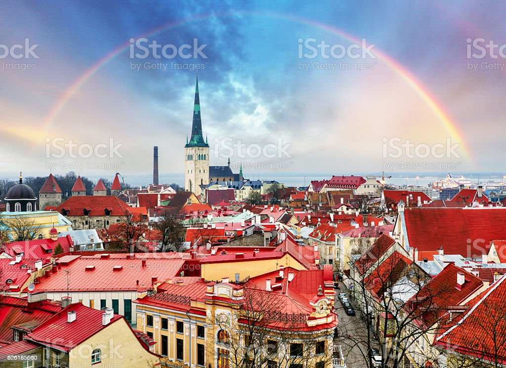 Tallin Old Town from Toompea Hill with rainbow, Estonia stock photo