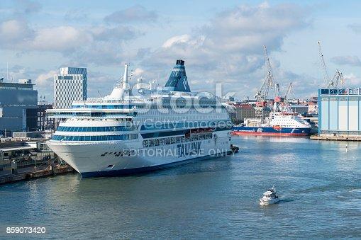 HELSINKI, FINLAND - SEPTEMBER 11:  Tallink ship Silja Europa on September 11, 2017 in Helsinki, Finland. The ship was built in 1993