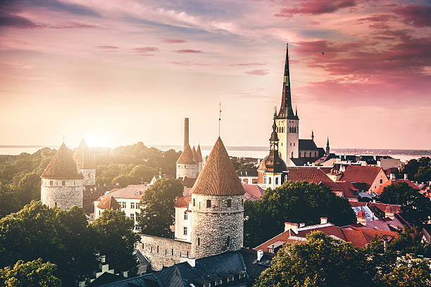 tallinn aerial old town cityscape - estonya stok fotoğraflar ve resimler