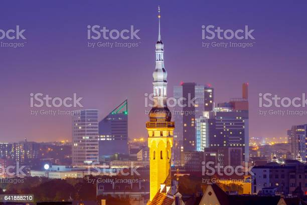 Tallinn. Aerial view of the city at sunset