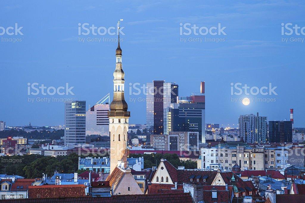 Tallinn at dusk with a beautiful moon royalty-free stock photo