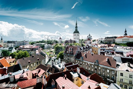 View over Old Town of Tallinn, Estonia.