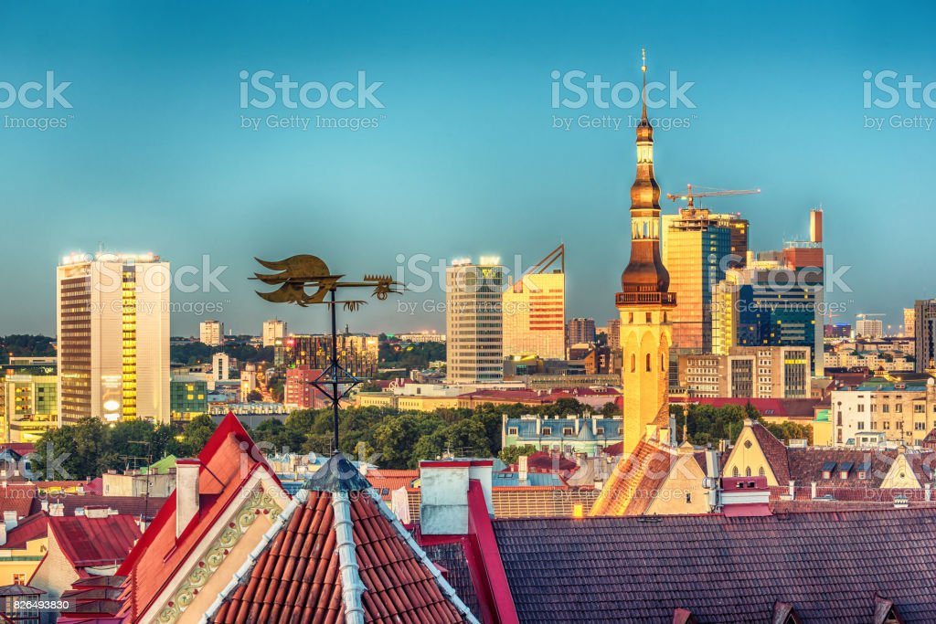 Tallinn, Estonia: aerial top view of the old town stock photo