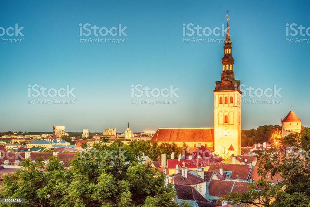 Tallinn, Estonia: aerial view of the old town at night stock photo