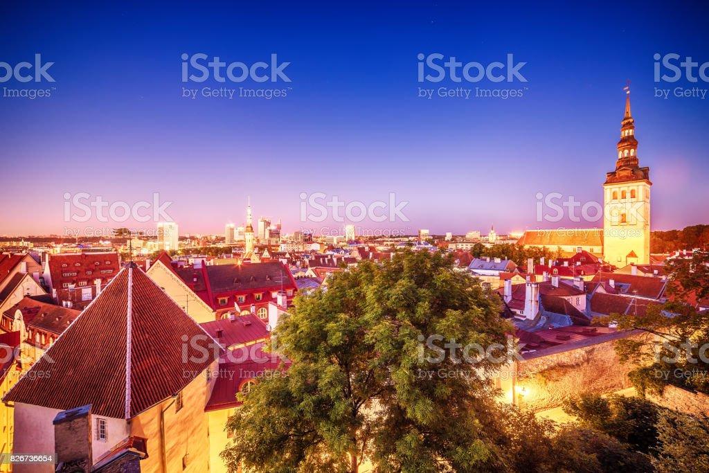 Tallinn, Estonia: the old town at night stock photo