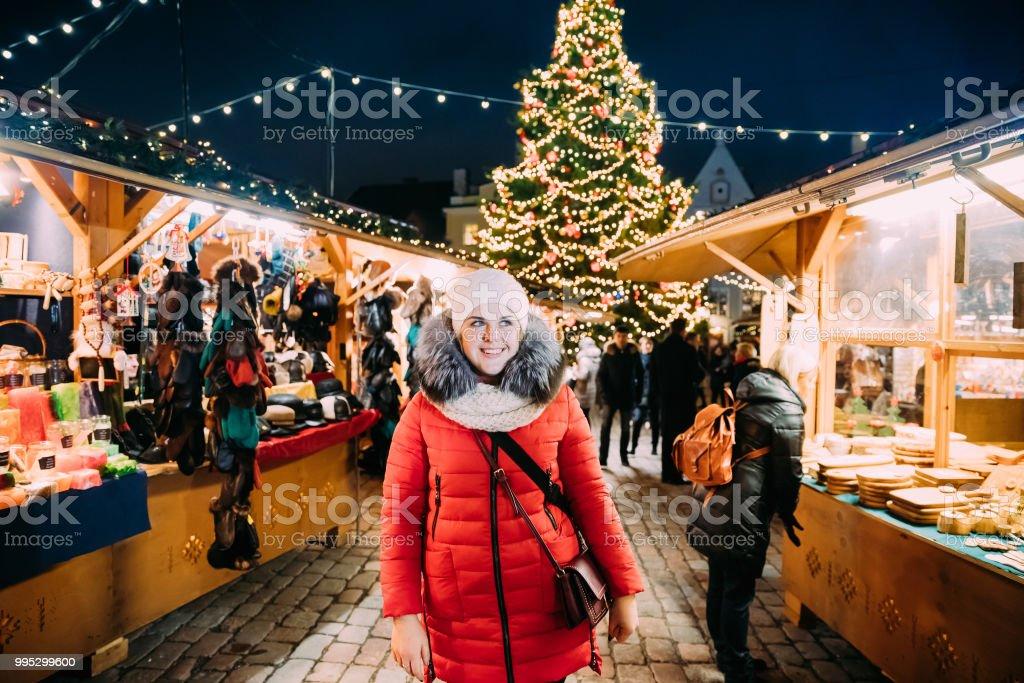 c51d654eb56e Tallinn Estonia Young Beautiful Pretty Caucasian Girl Woman Dressed ...