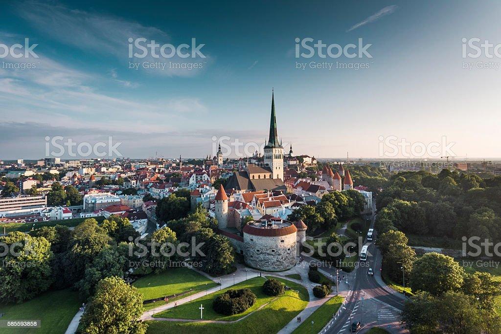 Tallinn Old Town Aerial View, Estonia stock photo