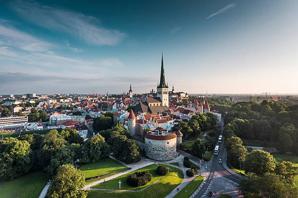 tallinn old town aerial view, estonia - estonya stok fotoğraflar ve resimler