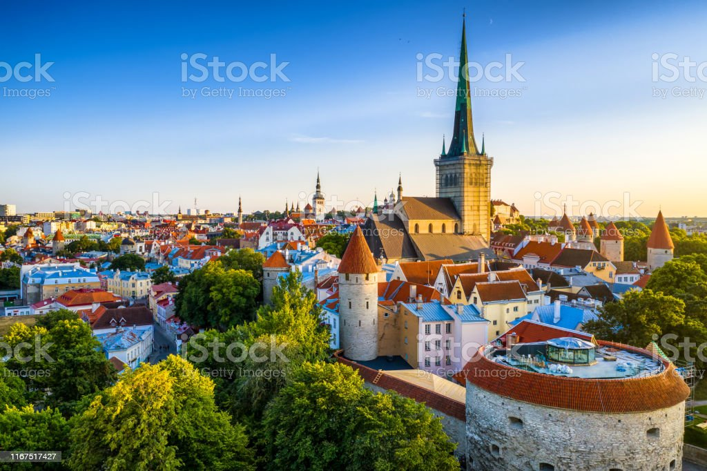 Tallinn Old Town aerial view from fat Margaret tower at sunset. Estonia Tallinn old town cityscape at sunset. Estonia Aerial View Stock Photo
