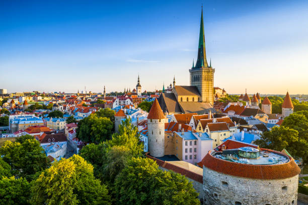 Tallinn Old Town aerial view from fat Margaret tower at sunset. Estonia stock photo