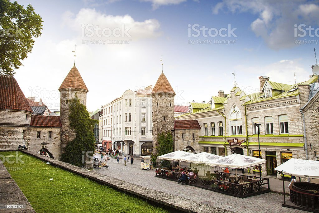 Tallinn Old Town entrance stock photo