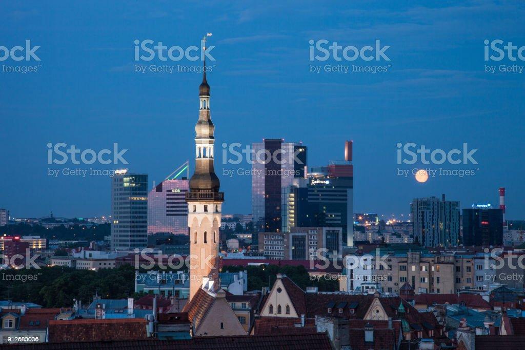 Tallinn skyline at night stock photo