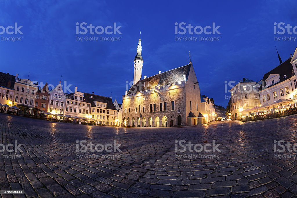 Tallinn Town Hall Square at dusk royalty-free stock photo