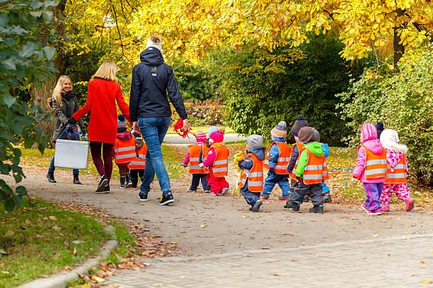Tallinn. Young children for a walk stock photo