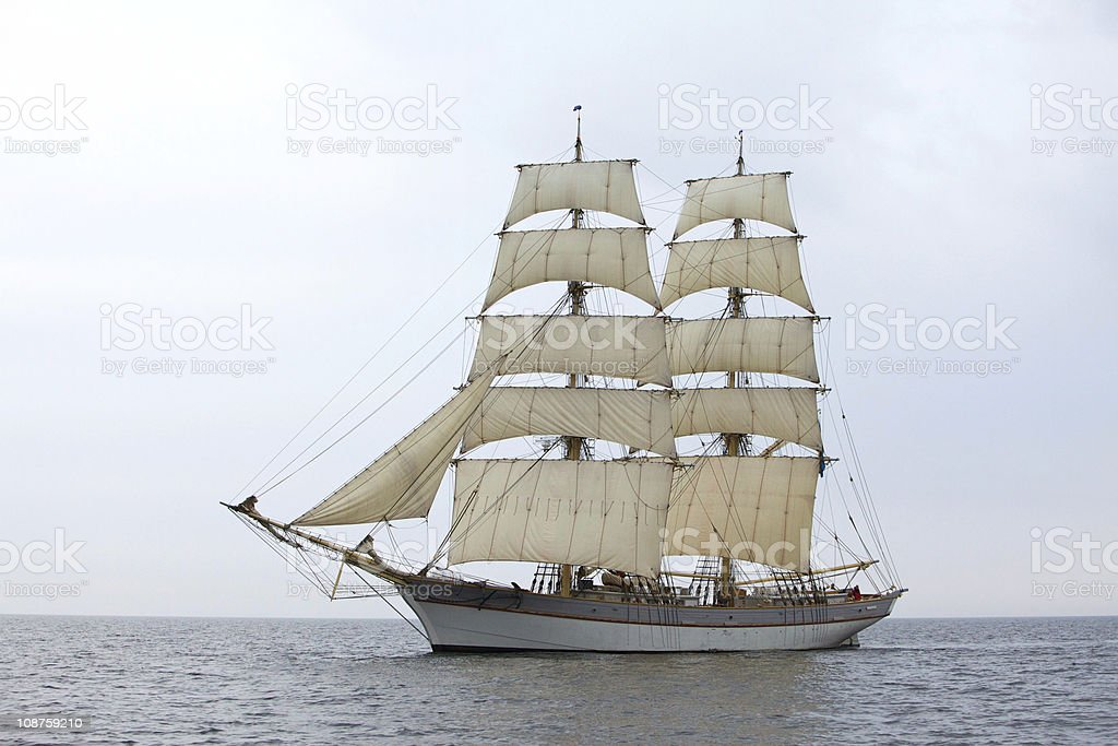 Tallship Tre Kronor at sea stock photo