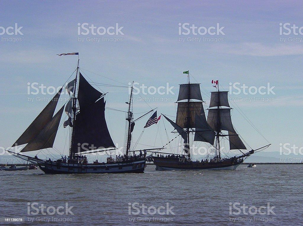 tallships passing royalty-free stock photo