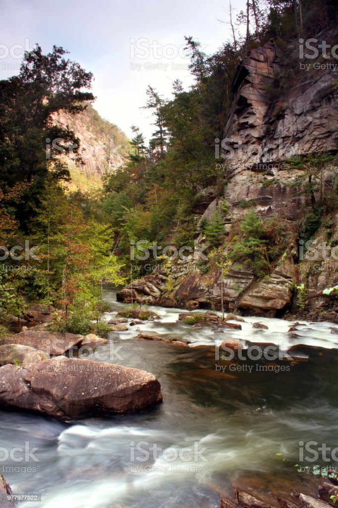 Tallulah River taken from the Tallulah Gorge located near Clayton Georgia. stock photo