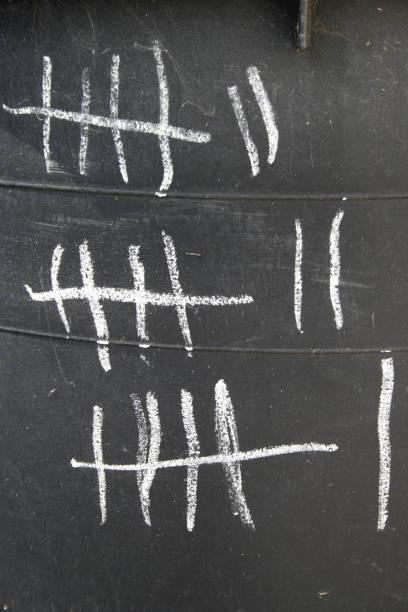 Tally-Markierungen oder Hashmarkierungen – Foto