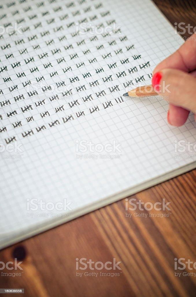 Tally sheet stock photo