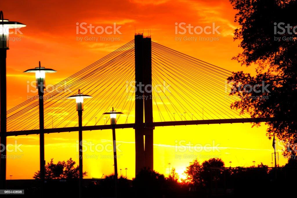 Talmadge bridge at sunset, Savannah, Georgia, USA royalty-free stock photo