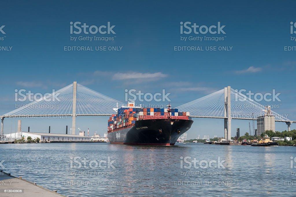 Talmadge Memorial Bridge and Container Ship in Savannah stock photo