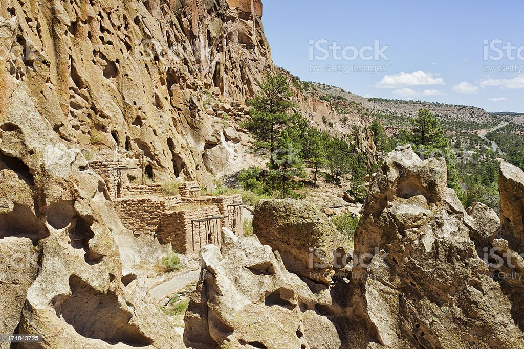 Talus Houses Cliff Dwellings - Bandelier National Monument stock photo