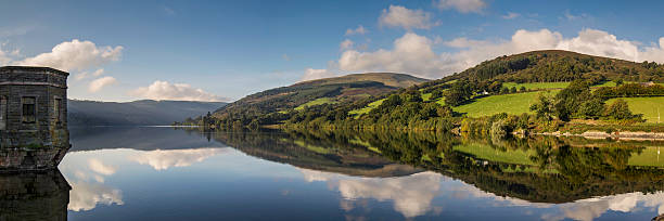Talybont Reservoir A panoramic shot of Talybont Reservoir captured on a bright Autumn morning. brecon beacons stock pictures, royalty-free photos & images