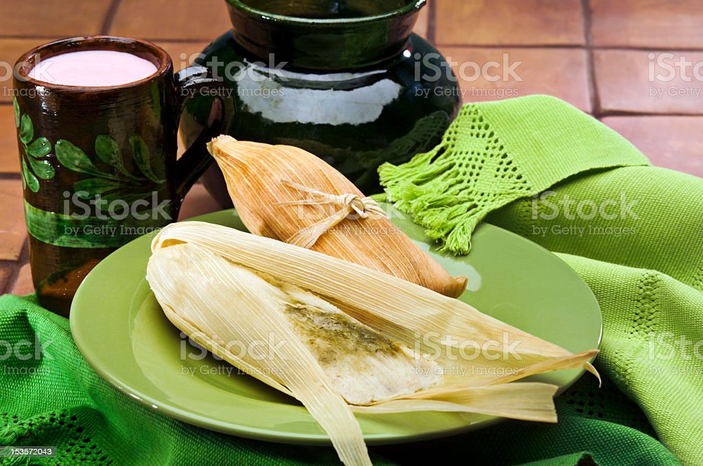 Tamales and atole, a traditional Mexican dish stock photo